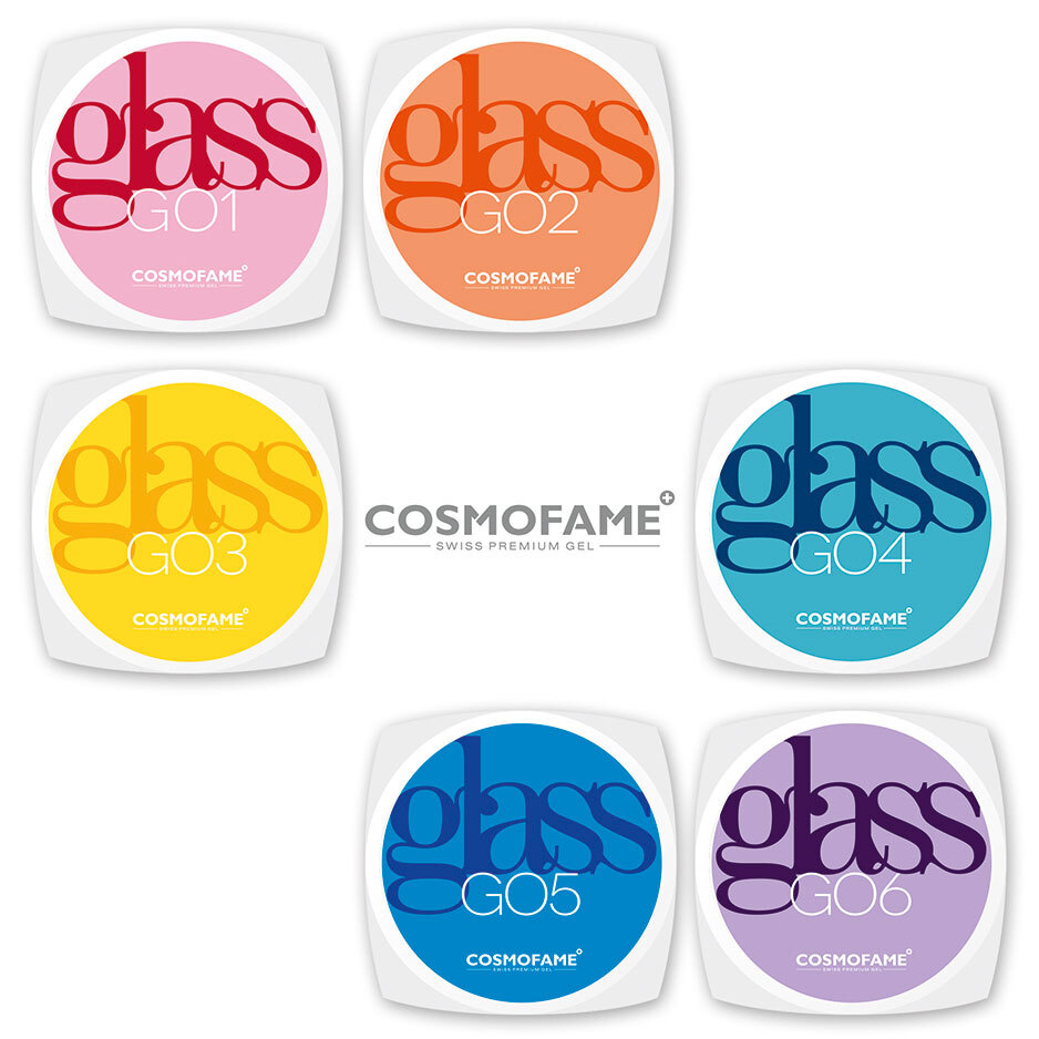 Glasgel Set glass your nails - 6 Farben plus GRATIS Anmischplatte [Artikelnr. 10378]